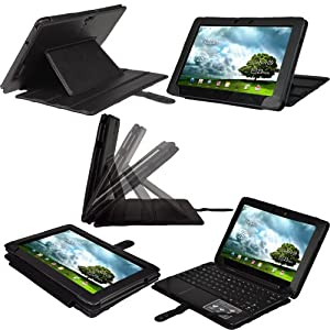 """iGadgitz Black PU Leather Case Cover for Asus Eee Pad Transformer Prime & Keyboard Dock TF201 10.1"""" Android Tablet"""