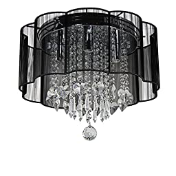 Dst Modern Black Shade Chandelier Flush Mount Crystal Ceiling Light Lamp with 4 Lamps for Living Room Bedroom Study Room Or Others D16\