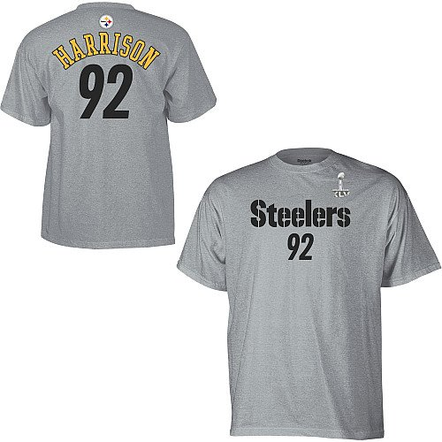 Reebok Pittsburgh Steelers James Harrison Super Bowl XLV Name & Number T-Shirt Large