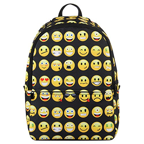Hynes Eagle Cute Emoji Backpack Cool Kids School Backpack (Black)