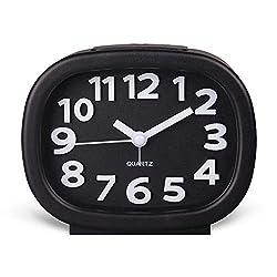Hense 3D Modern Decorative Arabic Numerals Clock Mute Silent Quiet Non Ticking Analog Quartz Alarm Clock with Night Light HA63 (Black)