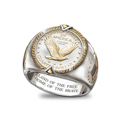 U.S. Eagle Quarter Men's Ring by Bradford Authenticated