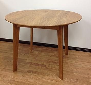 Table de salle à manger ronde scandinave - Chêne Français massif vernis
