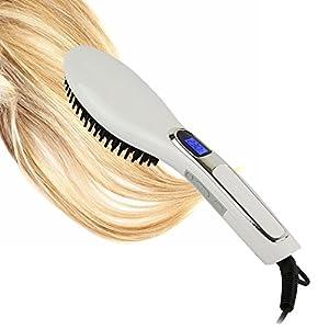 YokPollar Ionic Detangling Hair Straightener Brush Flat Iron with Digital Temperature Control Ceramic Styling Tool and Anion Scalp Massager