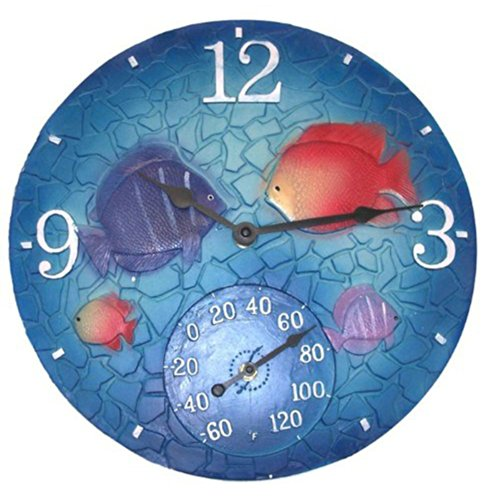 14 in. Tropical Mosaic Fish Clock & Thermometer