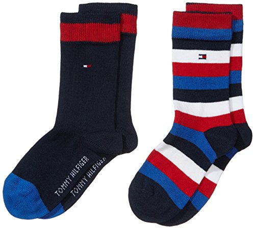 Tommy Hilfiger Jungen Socken TH KIDS BASIC STRIPE, 2er Pack, Gestreift, Gr. 35 (Herstellergröße: 35-38), Blau (midnight blue 563)