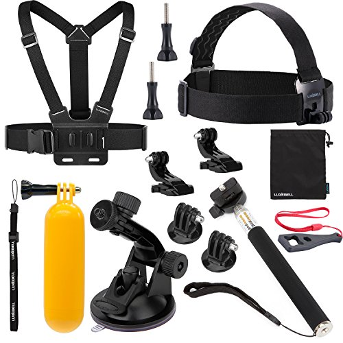 Luxebell discount duty free Luxebell 8-in-1 Accessories Kit for Gopro Hd Hero 4 Session, Hero3+, Hero3, Hero2 & Hero+ Lcd, Chest Mount Harness / Head Strap / Telescopic Pole / Suction Cup / Floating Handle Grip