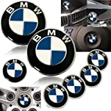 1999-2005 BMW E46 M3 323 325 328 330 335 Blue Emblems with Wheel Caps Set
