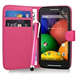 Excellent Accessories® Motorola Moto E - Pink Exclusive Leather Easy Clip On WALLET / FLIP Case / Cover / Pouch With Card Holders + Free Clear Screen Protector + Polishing Cloth + Touch Screen Stylus Pen