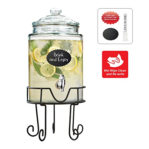Glass Beverage Dispenser on Metal Wire Stand - Elegant Party Centerpiece, with Spigot and Lid (1.5 Gallon) (Alcohol Beverage Dispenser compare prices)