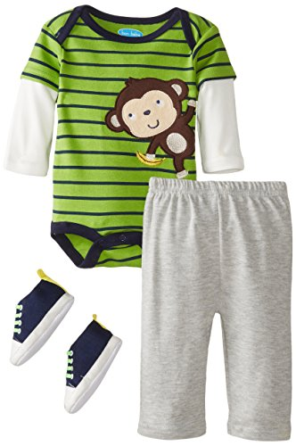 Bon Bebe Babys Newborn Monkey Bodysuit Pant And Soft Sneaker Set, Multi, 6-9 Months front-1073109