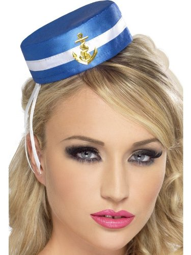 Smiffys Women's Blue Pill Box Sailor Hat One Size