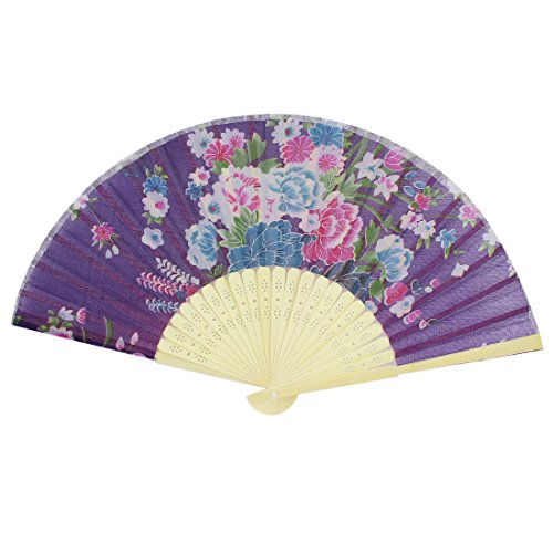 uxcell® Fabric Flower Print Bamboo Ribs Folding Hand Fan 14.2-inch Purple