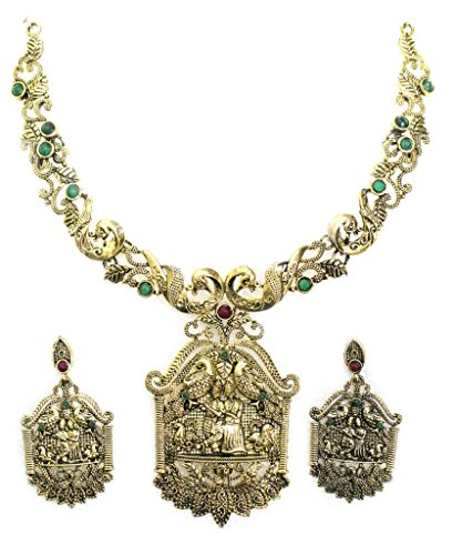 Zaveri Pearls Radha Krishna Antique Necklace Set  for Women-ZPFK563