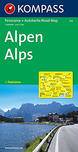 Carta panoramica n. 350. Alpi-Alpen 1:50.000. Con carta stradale