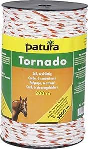 Patura Tornado Seil, 500 m Rolle, weiss-orange 5 Niro 0,20 mm, 1 Cu 0,30 mm