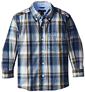 Tommy Hilfiger Little Boys' Long Sleeve Chapman Plaid Shirt, Flag Blue, 04 Regular