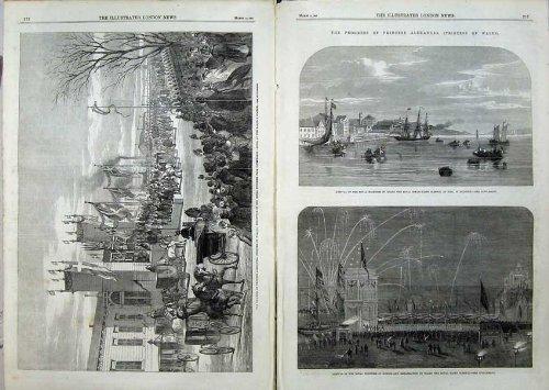 old-original-antique-victorian-print-1863-princess-alexandra-copenhagen-steam-yacht-sleswig-524tn115