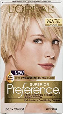 buy L'Oreal Paris Superior Preference Fade-Defying Color + Shine System 9 1/2A Lightest Ash Blonde/Cooler