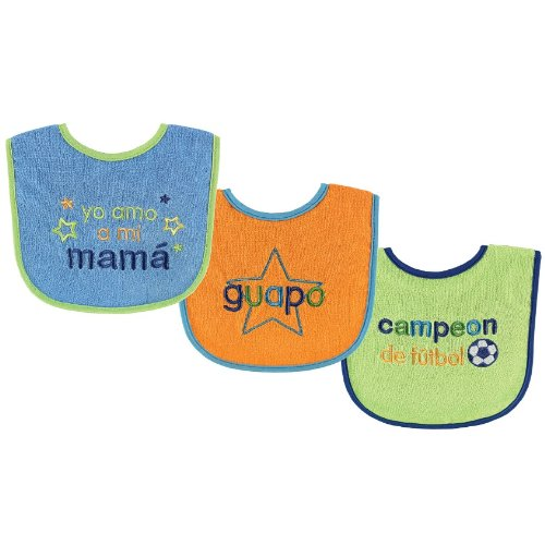 Luvable Friends Spanish Bibs, Blue, 3-Count