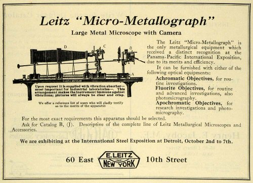 1922 Ad Leitz Micro Metallograph Microscope Camera Scientific Achromatic Science - Original Print Ad