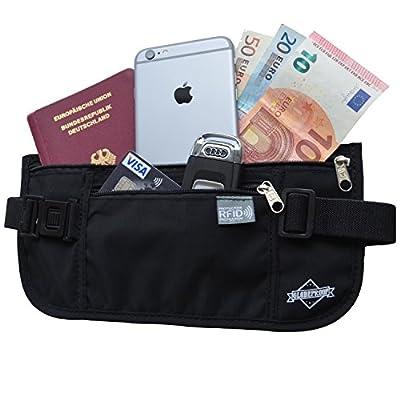 Reise-Bauchtasche flach mit RFID-Blocker für Damen & Herren von Globeproof