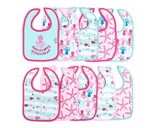 Tadpoles 10 Piece Bib Set, Sea Life/Pink - 1