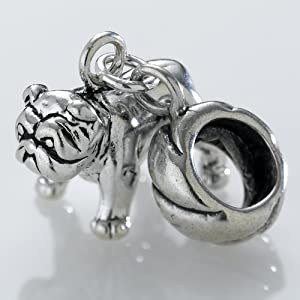 Sterling Silver Med Bulldog Charm Bead Fits European, Large Hole