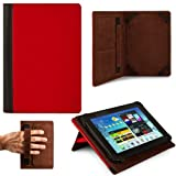 RED, Black Hard Cover Portfolio Jacket Mary Case, Stand Alone, Lightweight, Protective Slimline Sturdy, Flip Folio Book Style Design For ViewSonic ViewPad E72, ViewPad 7e, ViewPad 7x, 7-Inch Tablet
