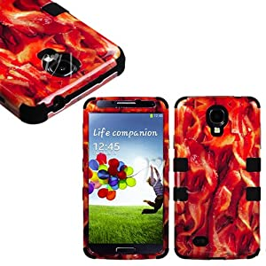 """myLife (TM) Black - Bacon Overload Design (3 Piece Hybrid) Hard and Soft Case for the Samsung Galaxy S4 """"Fits Models: I9500, I9505, SPH-L720, Galaxy S IV, SGH-I337, SCH-I545, SGH-M919, SCH-R970 and Galaxy S4 LTE-A Touch Phone"""" (Fitted Front and Back Solid Cover Case + Internal Silicone Gel Rubberized Tough Armor Skin)"""