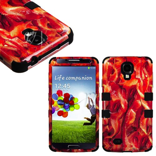 """Mylife (Tm) Black - Bacon Overload Design (3 Piece Hybrid) Hard And Soft Case For The Samsung Galaxy S4 """"Fits Models: I9500, I9505, Sph-L720, Galaxy S Iv, Sgh-I337, Sch-I545, Sgh-M919, Sch-R970 And Galaxy S4 Lte-A Touch Phone"""" (Fitted Front And Back Solid"""