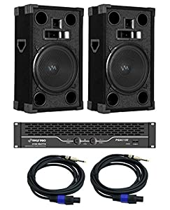 "2) VM Audio VAS312P 1800W 12"" DJ Pro Church Speakers + PQA3100 Amp + 2 Cables"