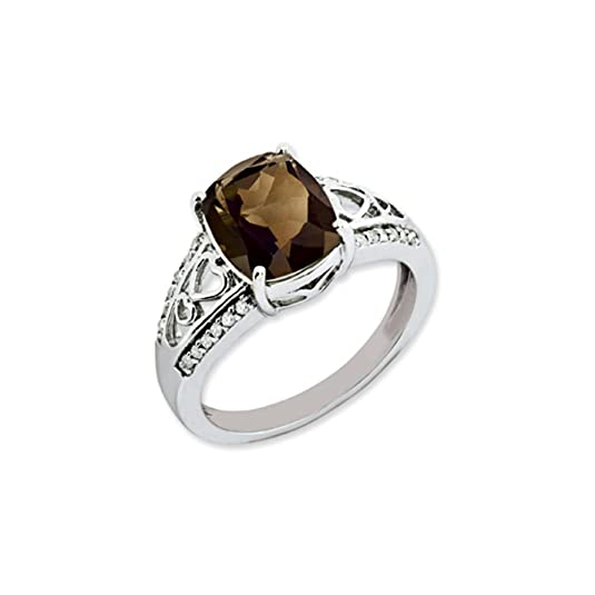 Black Bow Jewellery Company : Ornate Silver Smokey Quartz and Diamond Accent Ring
