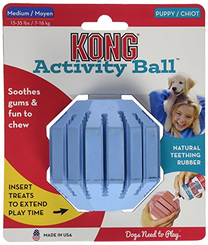 Kong Puppy ACTIVITY STUFF A BALL Dog Chew Toy Medium - Cleans Teeth (KP22)