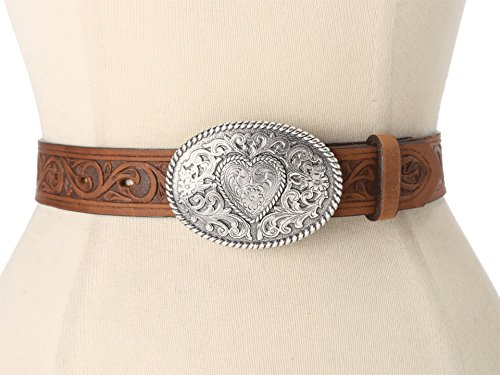 Justin Girls' Trophy Heart Belt And Buckle Aged Bark 22 (Justin Western Belts compare prices)