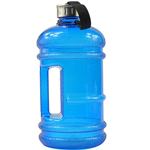 BPA Free High-Capacity Water Bottle 2.2 Liter (68 ounce) Wave Anti-Slip with Nylon Strap Easily Carry for Outdoor Sport Leisure Fitness - Blue (Narrow Water Jug compare prices)