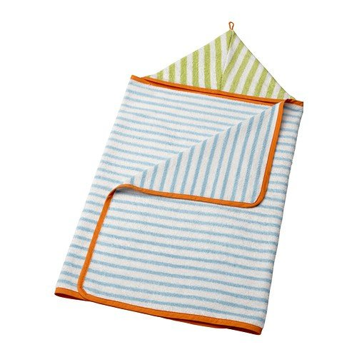 IKEA STANKA - Baby towel with hood, light blue, green - 60x125 cm - 1