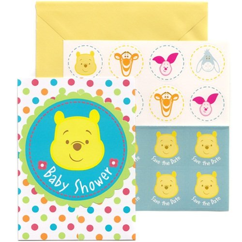 Winnie the Pooh Baby Shower Invitations (8) Invites Cards Disney