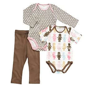 Dwellstudio Organic Bodysuit and Pants Starter Gift Set, Paper Dolls, 3-6 Months