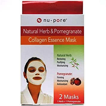United Exchange, Collagen Essence Mask, Natural Herb & Pomegranate, 2 Masks
