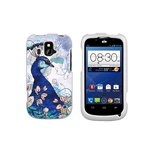 Spots8® For Zte Overture Z995 4G Lte ( Cricket / Aio Wireless ) Glossy Image Graphic Designs 2 Piece Snap On Images Cellphone Cell Phone Hard Protect Case Cover - Queen Peacock Design - Retail Packaging