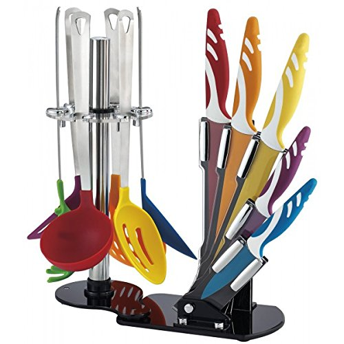 Set 12 pezzi coltelli rivestiti in ceramica e utensili da cucina in gomma rigida RL-KT12 con ceppo e supporto. MWS