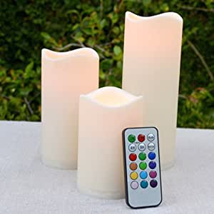 Set of 3 Wavy Edge Outdoor Color Changing Flameless Candles with Remote