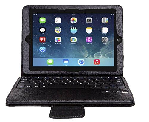 VSTNApple Ipad Air 2 ,ipad air 2 2014専用 脱着式Bluetooth キーボード ケース一体型 良質PUレザーケース付き(ブラック) (Ipad Air 2, ブラック2)