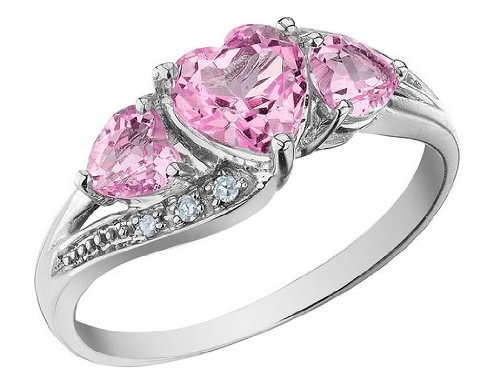 Created Pink Sapphire Heart Ring with Diamonds 1.53 Carat (ctw) in 10K White Gold, Size 7