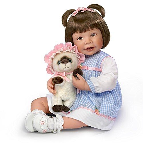Waltraud Hanl Poseable Lifelike Girl Doll with Plush Kitten by The Ashton-Drake Galleries