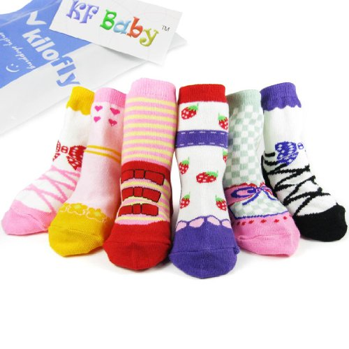 KF Baby Non-Skid Baby Girl Shoe Socks, 6 pairs, for 12 – 24 Months