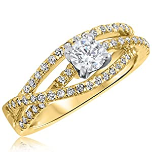 5/8 CT. T.W. Diamond Ladies Engagement Ring 10K Yellow Gold- Size 11.25