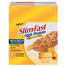 Slim-Fast High Protein Meal Bar, Peanut Granola, 1.69-Ounce Bars in 12-Count Boxes