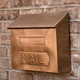 """Horizontal """"MAIL"""" Wall Mount Copper Mailbox - Antique Copper"""
